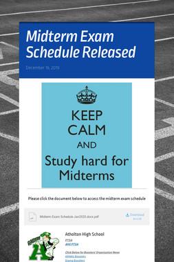 Midterm Exam Schedule Released