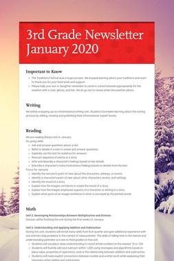3rd Grade Newsletter January 2020