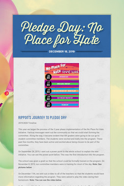 Pledge Day:  No Place for Hate
