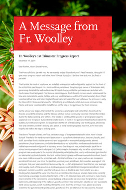 A Message from Fr. Woolley