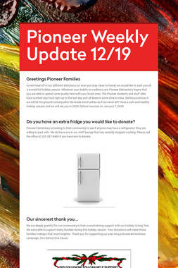Pioneer Weekly Update 12/19