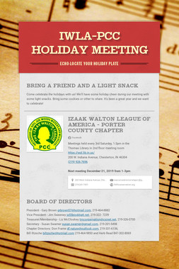 IWLA-PCC holiday meeting
