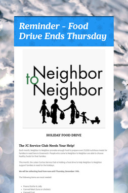 Reminder - Food Drive Ends Thursday