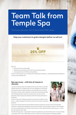 Team Talk from Temple Spa