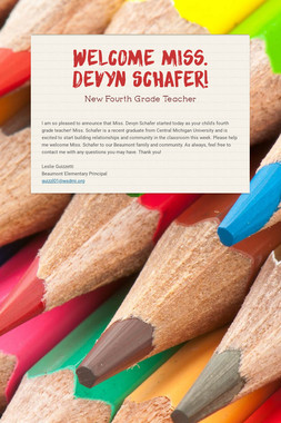 Welcome Miss. Devyn Schafer!