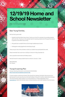 12/19/19 Home and School Newsletter