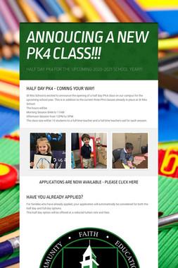 ANNOUCING A NEW PK4 CLASS!!!