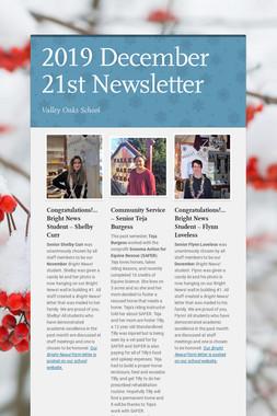 2019 December 21st Newsletter