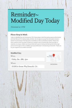 Reminder~        Modified Day Today