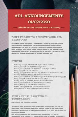 ADL Announcements 01/02/2020