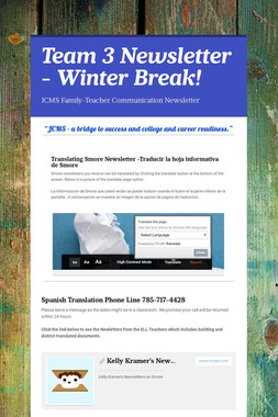 Team 3 Newsletter - Winter Break!