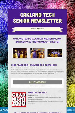Oakland Tech Senior Newsletter