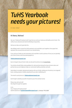TuHS Yearbook needs your pictures!
