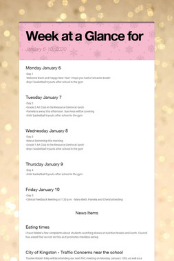 Week at a Glance for