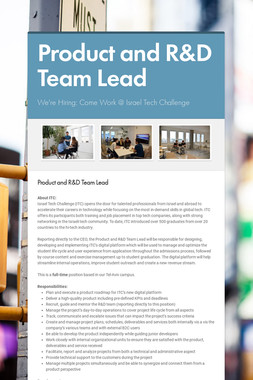 Product and R&D Team Lead