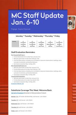 MC Staff Update Jan. 6-10
