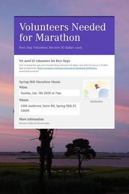 Volunteers Needed for Marathon