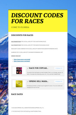 DISCOUNT CODES FOR RACES