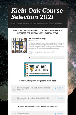 Klein Oak Course Selection