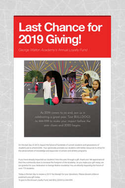 Last Chance for 2019 Giving!