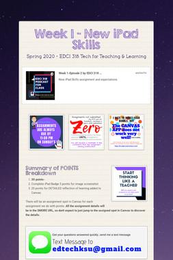 Week 1 - New iPad Skills