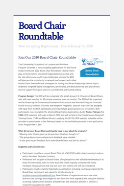 Board Chair Roundtable
