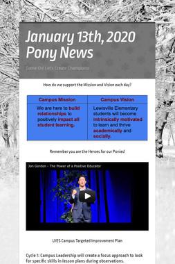 January 13th, 2020 Pony News