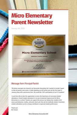 Micro Elementary Parent Newsletter