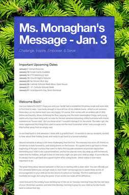 Ms. Monaghan's Message - Jan. 3