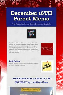 December 16TH Parent Memo