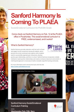 Sanford Harmony Is Coming To PLAEA