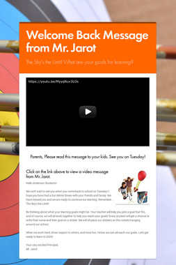 Welcome Back Message from Mr. Jarot