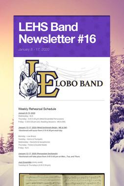 LEHS Band Newsletter #16