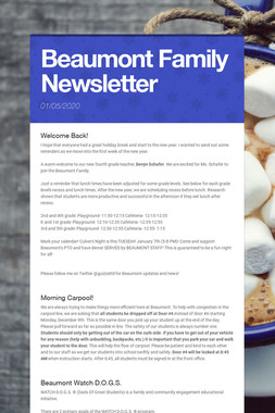 Beaumont Family Newsletter