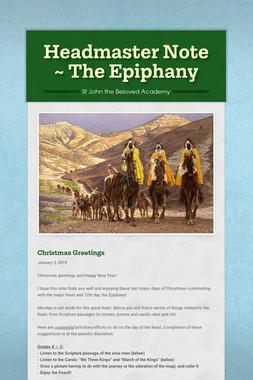 Headmaster Note ~ The Epiphany