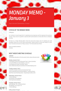 MONDAY MEMO - January 3