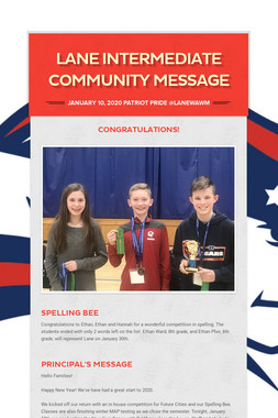 Lane Intermediate Community Message