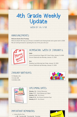 4th Grade Weekly Update