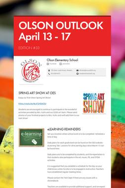 OLSON OUTLOOK  April 13 - 17