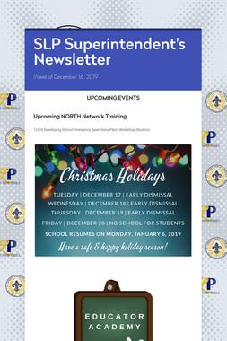 SLP Superintendent's Newsletter