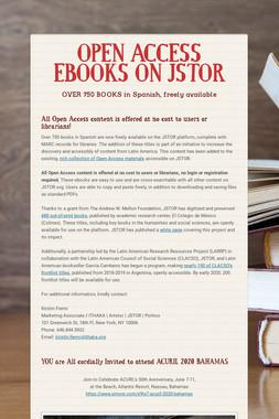 OPEN ACCESS EBOOKS ON JSTOR