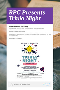 RPC Presents Trivia Night