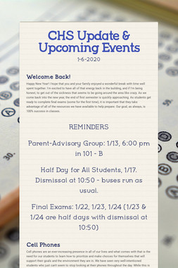 CHS Update & Upcoming Events