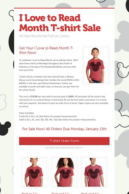 I Love to Read Month T-shirt Sale