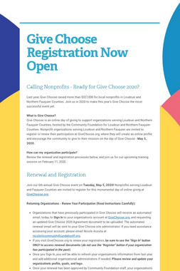 Give Choose Registration Now Open