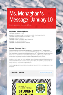 Ms. Monaghan's Message - January 10