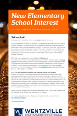 New Elementary School Interest