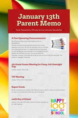 January 13th Parent Memo