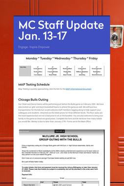 MC Staff Update Jan. 13-17
