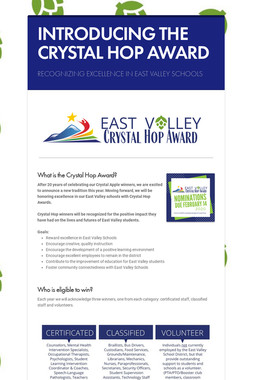 INTRODUCING THE CRYSTAL HOP AWARD